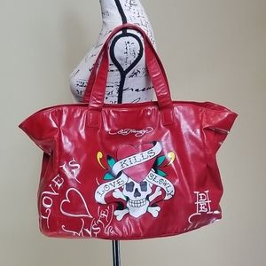 Ed Hardy patent red tote bag Love Kills Slowly